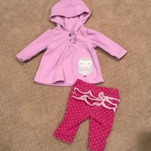 Lavender sweater w owl and pink polka dot outfit